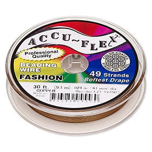 beading wire, accu-flex, nylon and stainless steel, copper, 49 strand, 0.024-inch diameter. sold per 30-foot spool.