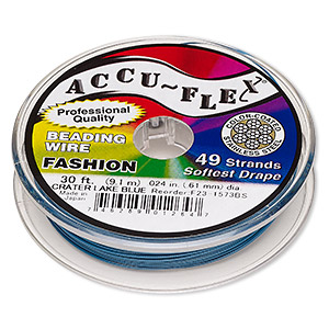 beading wire, accu-flex, nylon and stainless steel, crater lake blue, 49 strand, 0.024-inch diameter. sold per 30-foot spool.