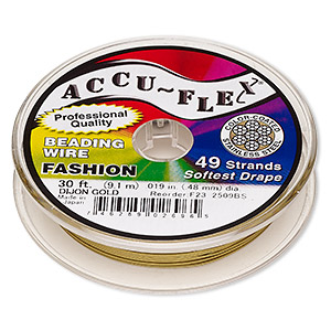 beading wire, accu-flex, nylon and stainless steel, dijon gold, 49 strand, 0.019-inch diameter. sold per 30-foot spool.