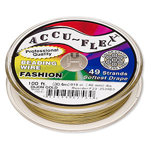 beading wire, accu-flex, nylon and stainless steel, dijon gold, 49 strand, 0.019-inch diameter. sold per 100-foot spool.