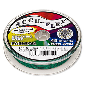 beading wire, accu-flex, nylon and stainless steel, forest green, 49 strand, 0.014-inch diameter. sold per 100-foot spool.