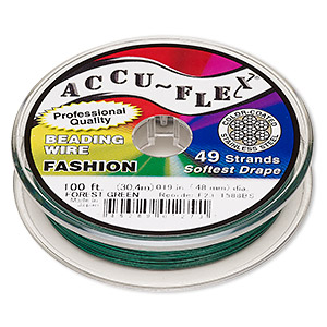 beading wire, accu-flex, nylon and stainless steel, forest green, 49 strand, 0.019-inch diameter. sold per 100-foot spool.