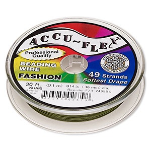 beading wire, accu-flex, nylon and stainless steel, khaki, 49 strand, 0.014-inch diameter. sold per 30-foot spool.