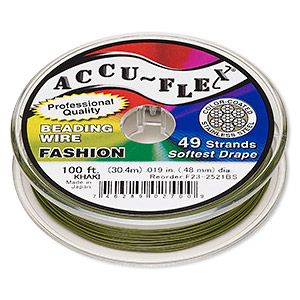 beading wire, accu-flex, nylon and stainless steel, khaki, 49 strand, 0.019-inch diameter. sold per 100-foot spool.