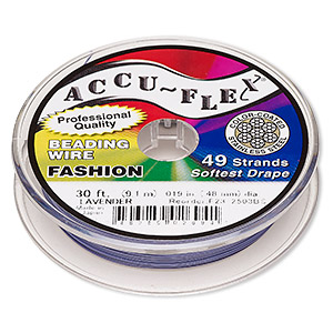 beading wire, accu-flex, nylon and stainless steel, lavender, 49 strand, 0.019-inch diameter. sold per 30-foot spool.