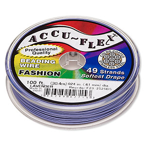 beading wire, accu-flex, nylon and stainless steel, lavender, 49 strand, 0.024-inch diameter. sold per 100-foot spool.