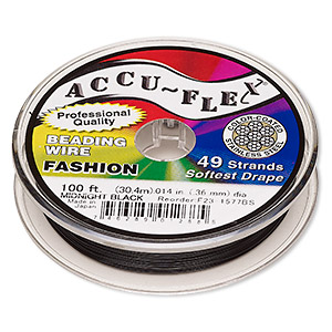 beading wire, accu-flex, nylon and stainless steel, midnight black, 49 strand, 0.014-inch diameter. sold per 100-foot spool.