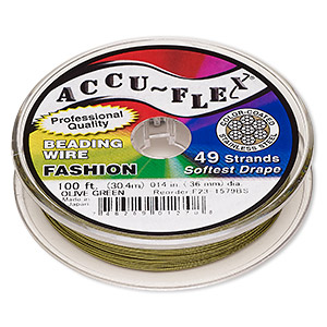 beading wire, accu-flex, nylon and stainless steel, olive green, 49 strand, 0.014-inch diameter. sold per 100-foot spool.