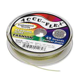 beading wire, accu-flex, nylon and stainless steel, olive green, 49 strand, 0.024-inch diameter. sold per 100-foot spool.