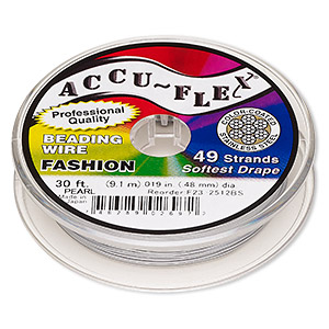 beading wire, accu-flex, nylon and stainless steel, pearl, 49 strand, 0.019-inch diameter. sold per 30-foot spool.