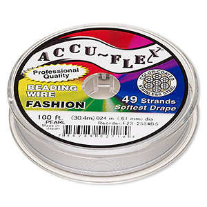 beading wire, accu-flex, nylon and stainless steel, pearl, 49 strand, 0.024-inch diameter. sold per 100-foot spool.