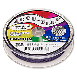 beading wire, accu-flex, nylon and stainless steel, plum purple, 49 strand, 0.014-inch diameter. sold per 100-foot spool.