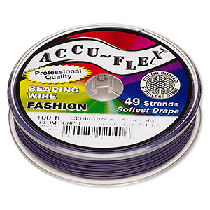 beading wire, accu-flex, nylon and stainless steel, plum purple, 49 strand, 0.024-inch diameter. sold per 100-foot spool.