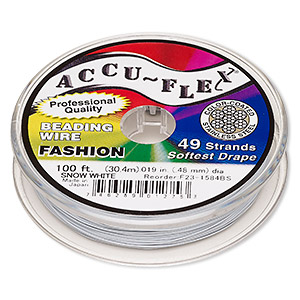 beading wire, accu-flex, nylon and stainless steel, snow white, 49 strand, 0.019-inch diameter. sold per 100-foot spool.