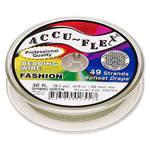 beading wire, accu-flex, nylon and stainless steel, spring green, 49 strand, 0.019-inch diameter. sold per 30-foot spool.