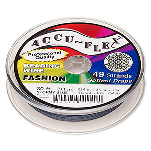 beading wire, accu-flex, nylon and stainless steel, stormy blue, 49 strand, 0.014-inch diameter. sold per 30-foot spool.
