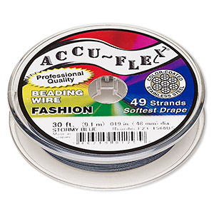 beading wire, accu-flex, nylon and stainless steel, stormy blue, 49 strand, 0.019-inch diameter. sold per 30-foot spool.