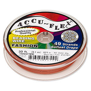 beading wire, accu-flex, nylon and stainless steel, tangerine, 49 strand, 0.024-inch diameter. sold per 30-foot spool.