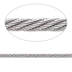 beading wire, accu-flex twisted cable wire, stainless steel, 343 strand, 0.09-inch (2.3mm) diameter. sold per 20-inch strand.