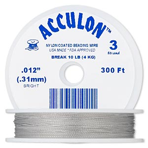 beading wire, acculon, nylon-coated stainless steel, clear, 3 strand, 0.012-inch diameter. sold per 300-foot spool.