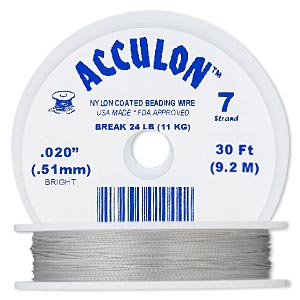 beading wire, acculon, nylon-coated stainless steel, clear, 7 strand, 0.020-inch diameter. sold per 30-foot spool.