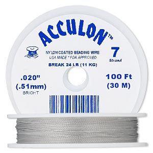 beading wire, acculon, nylon-coated stainless steel, clear, 7 strand, 0.020-inch diameter. sold per 100-foot spool.