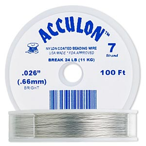 beading wire, acculon, nylon-coated stainless steel, clear, 7 strand, 0.026-inch diameter. sold per 100-foot spool.