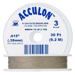 beading wire, acculon, nylon-coated stainless steel, gold color, 3 strand, 0.015-inch diameter. sold per 30-foot spool.