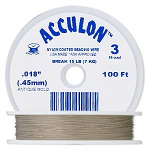 beading wire, acculon, nylon-coated stainless steel, gold color, 3 strand, 0.018-inch diameter. sold per 100-foot spool.