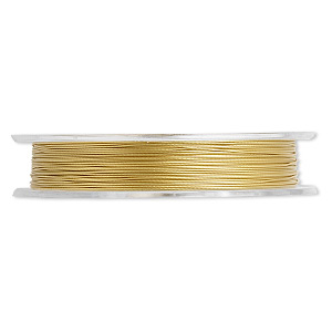 beading wire, tigertail™, nylon-coated stainless steel, gold, 3 strand, 0.012-inch diameter. sold per 30-foot spool.