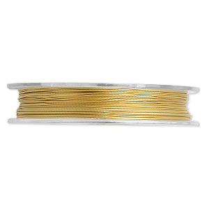 beading wire, tigertail™, nylon-coated stainless steel, gold, 3 strand, 0.015-inch diameter. sold per 30-foot spool.
