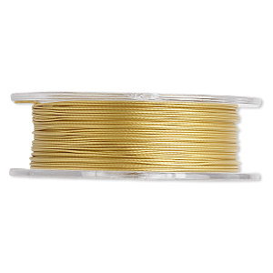 beading wire, tigertail™, nylon-coated stainless steel, gold, 3 strand, 0.018-inch diameter. sold per 30-foot spool.