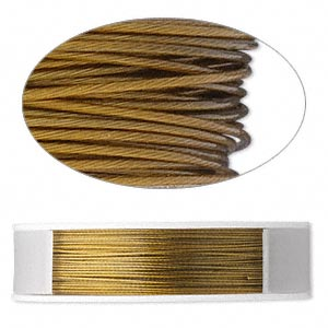 beading wire, tigertail™, nylon-coated stainless steel, gold, 7 strand, 0.012-inch diameter. sold per 100-foot spool.
