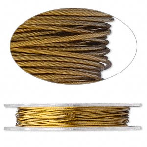 beading wire, tigertail™, nylon-coated stainless steel, gold, 7 strand, 0.024-inch diameter. sold per 30-foot spool.
