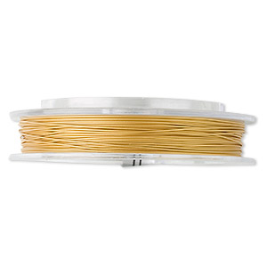 beading wire, tigertail™, nylon-coated stainless steel, gold, 7 strand, 0.026-inch diameter. sold per 30-foot spool.