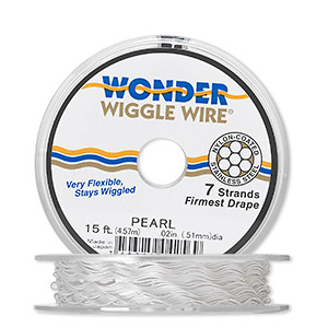 beading wire, wonder wiggle wire, stainless steel and nylon, pearl, 0.02-inch diameter. sold per 15-foot spool.