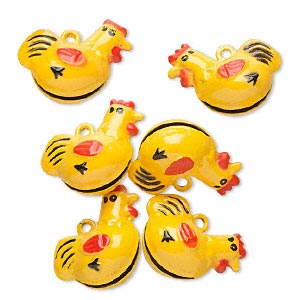 bell, brass and enamel, black / red / yellow, 25x21mm chicken. sold per pkg of 6.