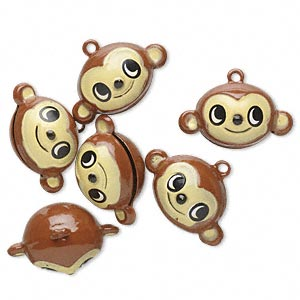 bell, brass and enamel, multicolored, 24x14mm monkey head with clapper. sold per pkg of 6.