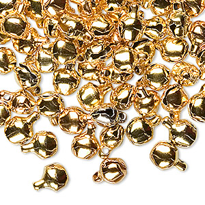 bell, gold-finished steel, 6mm round. sold per pkg of 100.