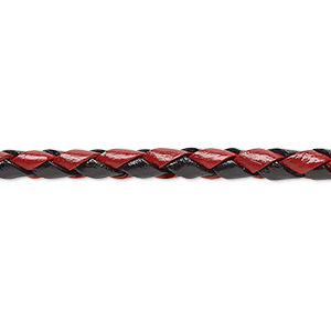 bola cord, leather, red and black, 3-4.5mm wide. sold per pkg of (4) 35-inch lengths.