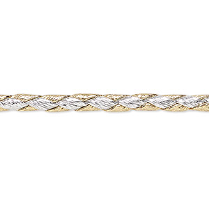bola cord, leatherette, gold and silver, 3.5-4mm textured round. sold per pkg of (10) 36-inch lengths.