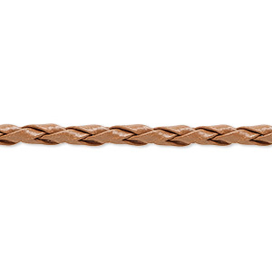 bola cord, leatherette, tan, 3.5-4mm textured round. sold per pkg of (10) 36-inch lengths.