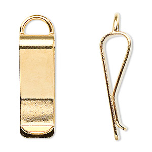bookmark clip, gold-plated brass, 30x10mm with loop. sold per pkg of 10.
