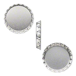 bottle cap, inked steel with sealant, chrome, 2 inch, undrilled. sold per pkg of 2.
