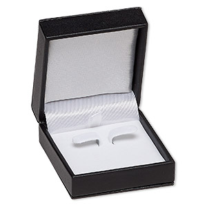 box, earring, leatherette and velvet, white and black, 2-5/8 x 1-1/4 x 2-3/4 inch square. sold individually.