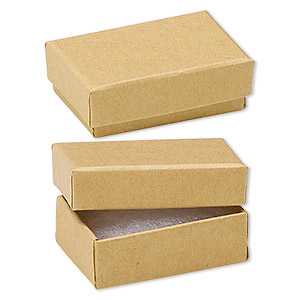 box, kraft paper, cotton-filled, 1-7/8 x 1-1/4 x 5/8 inch rectangle. sold per pkg of 100.