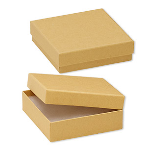 box, kraft paper, cotton-filled, 3-1/2 x 3-1/2 x 1-inch square. sold per pkg of 10.
