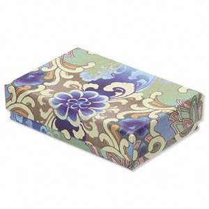 box, paper / velveteen / foam, multicolored, 3-1/4 x 2-1/4 x 3/4 inches with flower design. sold per pkg of 10.