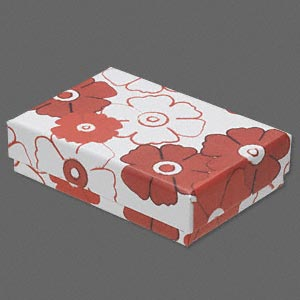 box, paper / velveteen / foam, red / black / white, 3-1/4 x 2-1/4 x 3/4 inch rectangle with flower design. sold per pkg of 10.