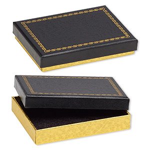box, paper and velvet, black and gold, 3-1/2 x 2-1/2 x 5/8 inch rectangle. sold per pkg of 144 (1 gross).